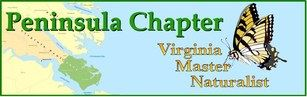 Peninsula Chapter - Virginia Master Naturalist logo with map and butterfly