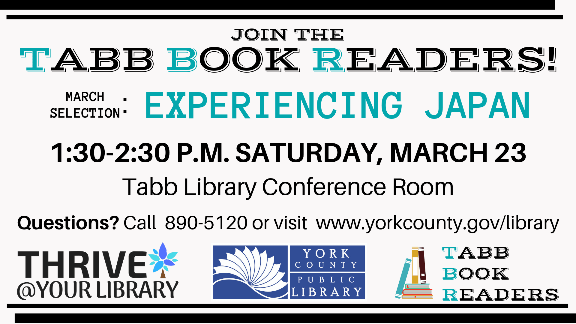 Tabb Book Readers meets at the Tabb Library. March's selections focus on Experiencing Japan
