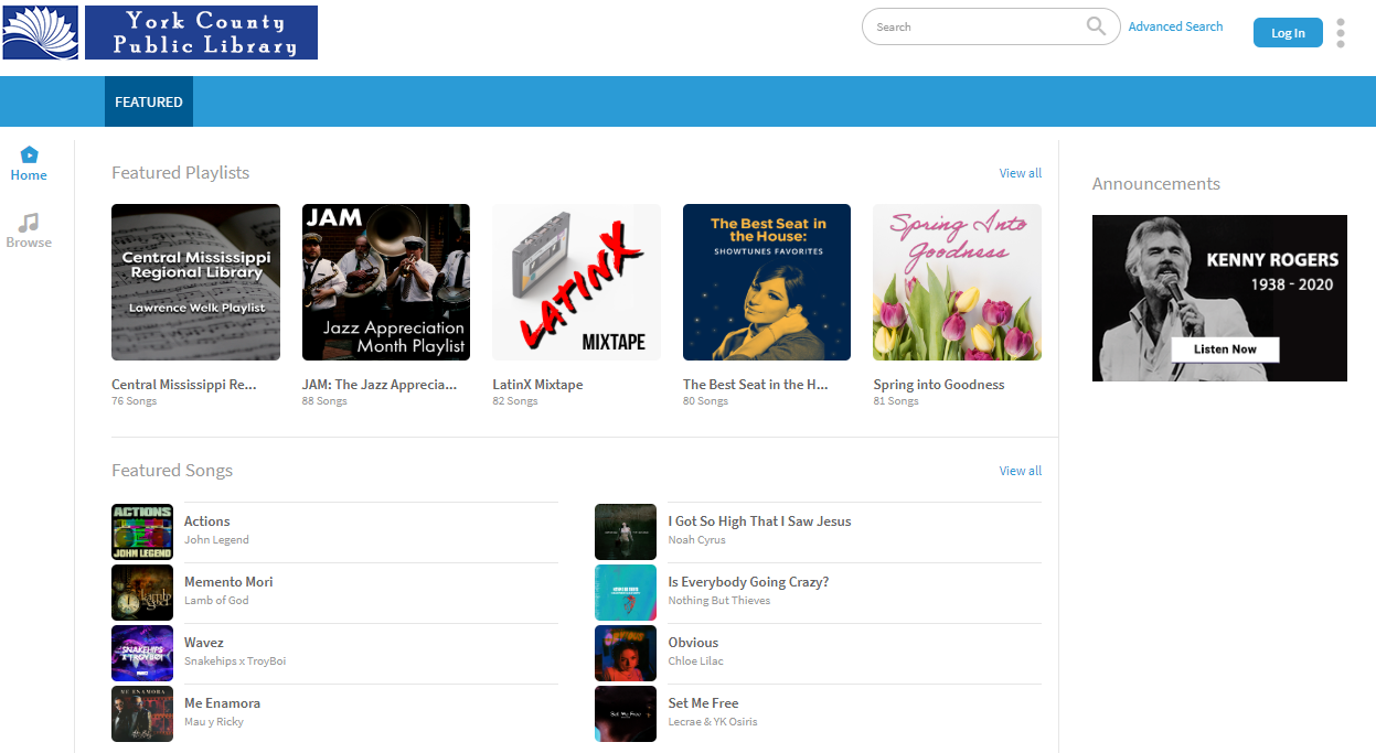 This is what the Freegal Music hompage looks like.