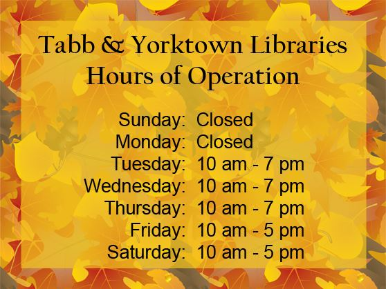 Tabb & Yorktown Library Modified Hours of Operation