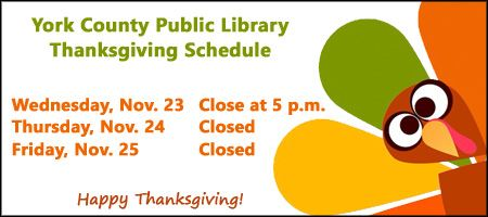 2016 Thanksgiving Closing Schedule for the York County Virginia Library