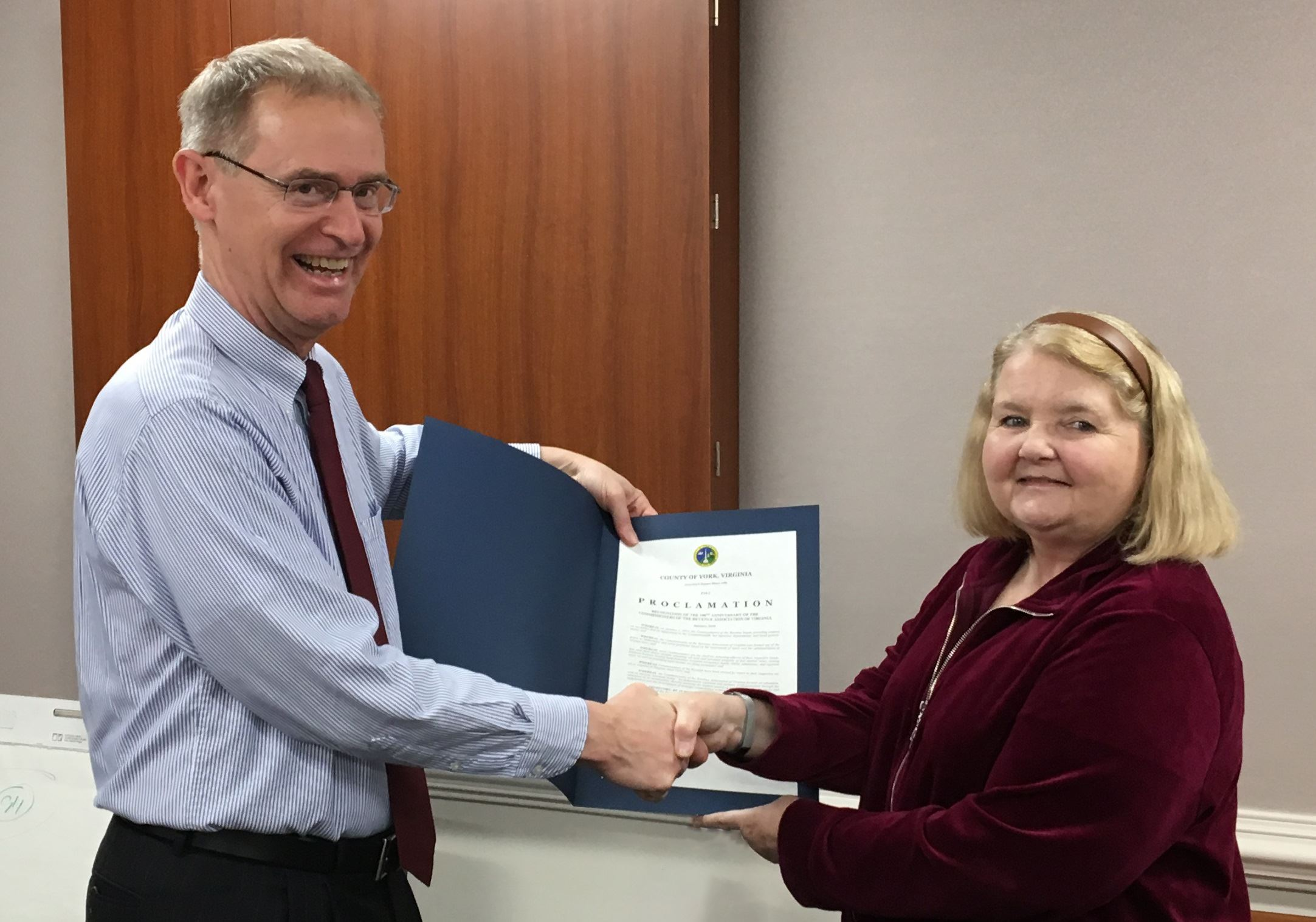 York County Commissioner of the Revenue Ann Thomas is pictured receiving a Proclamation of Recogniti