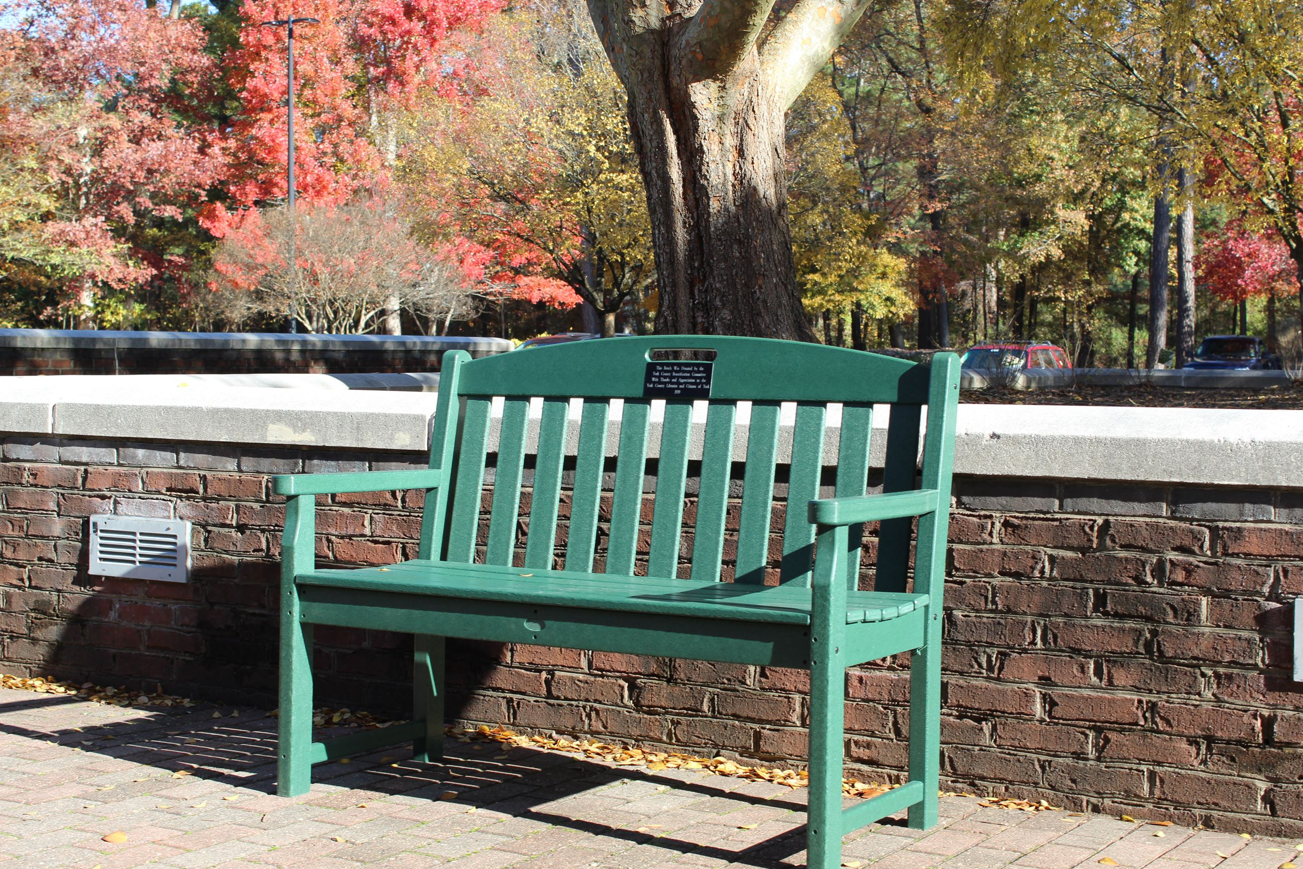 This is an image of a Trex Bench at the Tabb Library